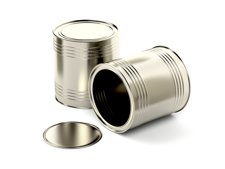 tin cans: Two tin cans on white background Stock Photo