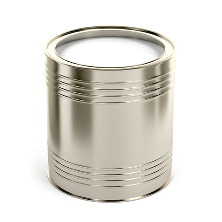 Canister with white paint or other liquid on white background