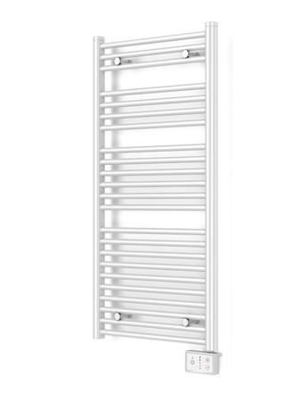 bathroom wall: Modern electric bathroom radiator on white wall Stock Photo