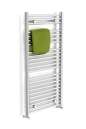 chrome: Chrome towel radiator on white background Stock Photo