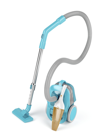handheld device: Bagless and handheld vacuum cleaners on white background Stock Photo