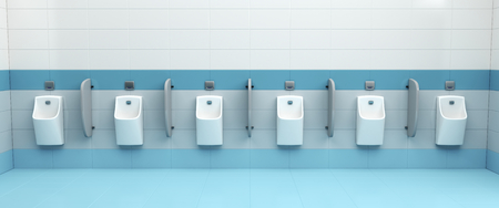 a restroom: Row of urinals at public mens restroom