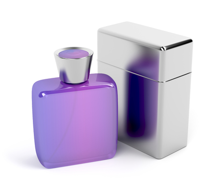 purple metal: Unisex purple perfume bottle and metal packaging box