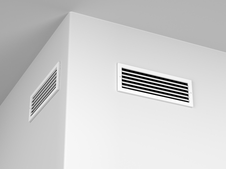 outflow: Air vents for heating or cooling on the wall