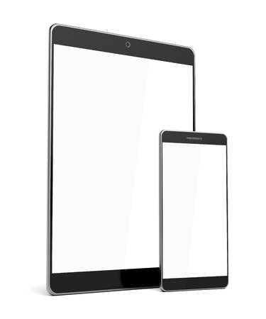 blank tablet: Smartphone and tablet computer with blank screens on white background Stock Photo
