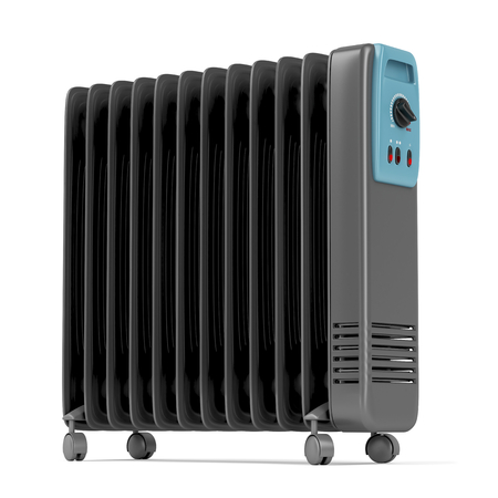 column: Electric oil heater on white background