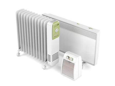 ファン、オイル充填、白い背景の上の対流電気ヒーター