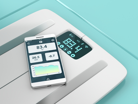 Smart weight scale and a smartphone with weight information on its display  Stock Photo