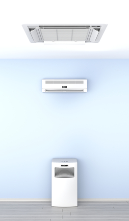 Different types of air conditioners in the room