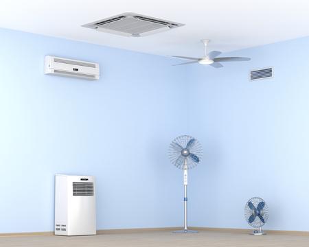 Diferentes tipos de acondicionadores de aire y ventiladores eléctricos en la habitación Foto de archivo