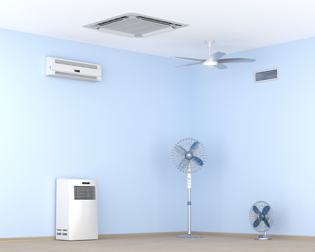 Different types of air conditioners and electric fans in the room Stock Photo