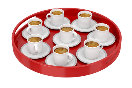 Red plastic tray, full with espresso coffee cups on white background