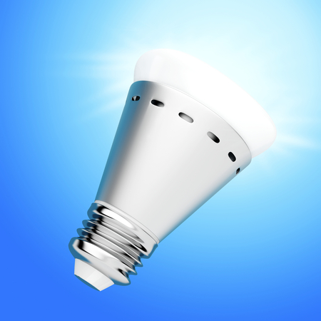 Bright LED light bulb on blue background
