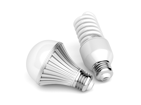 LED and CFL light bulbs on white background Stock Photo