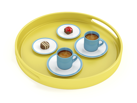 Plastic tray with espresso coffee cups and chocolate candies on white background