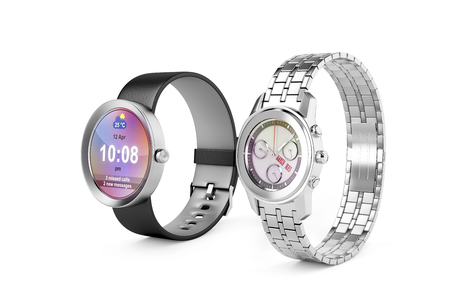 Smartwatch and silver wristwatch on white background Stock Photo