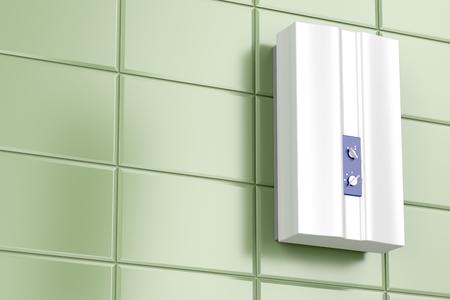 Tankless water heater in the bathroom Stock fotó