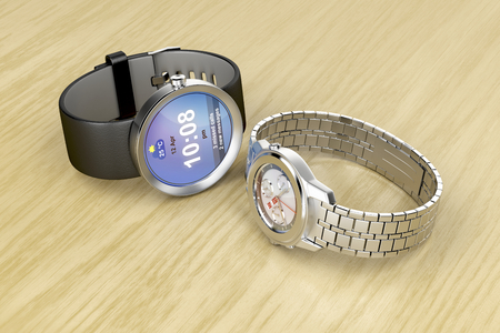 clockwise: Smart and mechanical wrist watches on wooden table