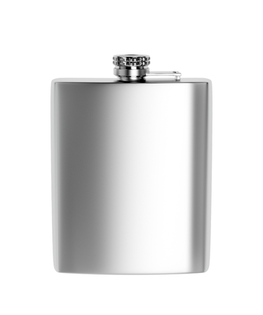 Front view of stainless steel hip flask, isolated on white background