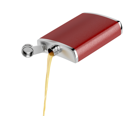 Pouring whisky or other alcoholic drink from hip flask, isolated on white  Stok Fotoğraf