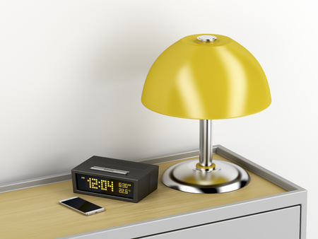 Nightstand with smartphone, digital alarm clock and electric lamp on it