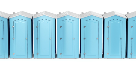 Row with portable plastic toilets on white background, front view Stock Photo