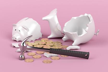 ピンクの背景にハンマーと壊れた貯金箱
