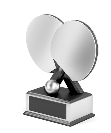 Silver table tennis trophy on white background Banque d'images