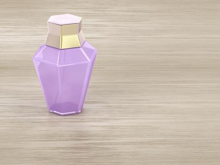 Female perfume bottle on wooden table