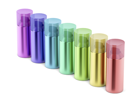 Group of aerosol spray cans with different colors on white background Stock Photo