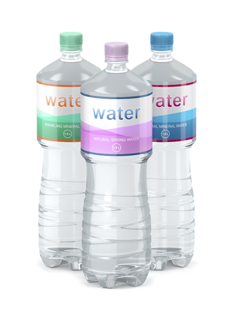 Different types of bottled water, 3D illustration