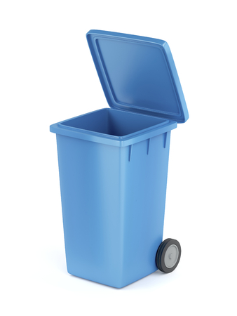 Plastic waste container on white background  Stockfoto
