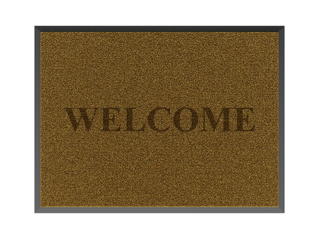 Brown doormat isolated on white background, top view