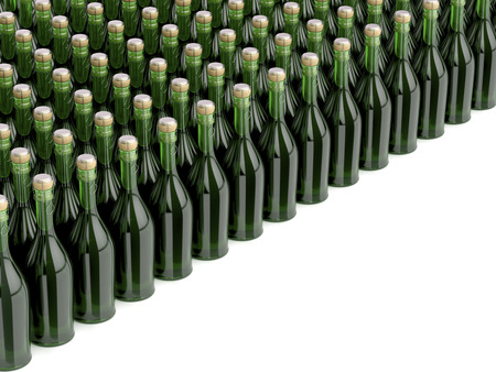 Multiple rows with champagne bottles