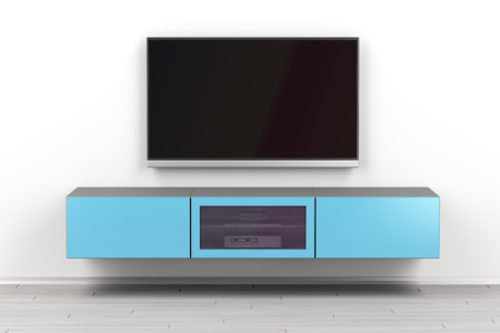 Wall mounted tv cabinet and big flat screen tv in the living room