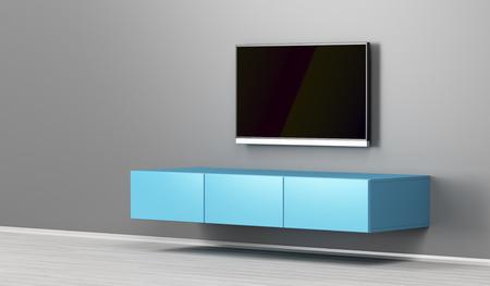 Meuble tv mural et tv grand écran plat dans le salon
