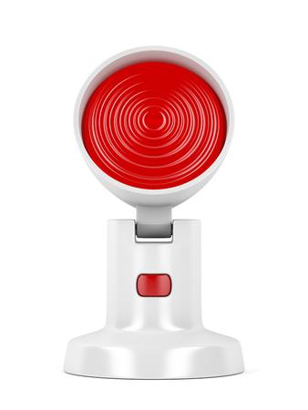 Lámpara de infrarrojos sobre fondo blanco.