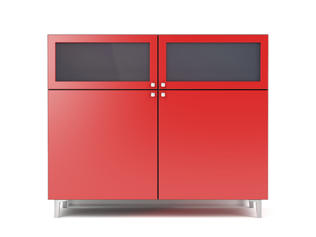 Red storage cabinet on white background, front view Banco de Imagens - 122803673
