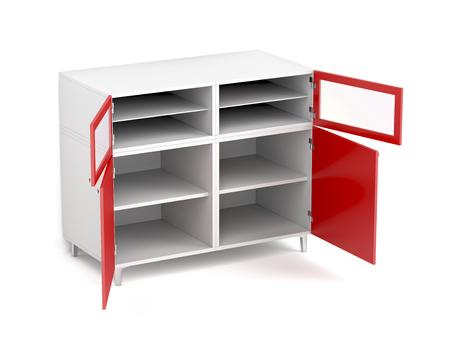 Empty storage cabinet on white background