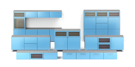Set of different types of wood cabinets on white background 写真素材