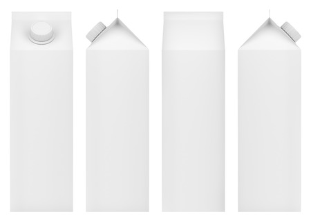 Envases en blanco para leche, zumos u otras bebidas. Vista frontal, posterior y lateral. Foto de archivo