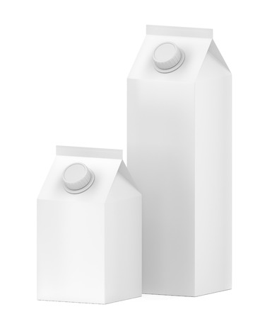 Two blank containers for milk, juice or other beverages 写真素材