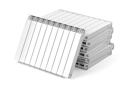 Stack with aluminum heating radiators on white background