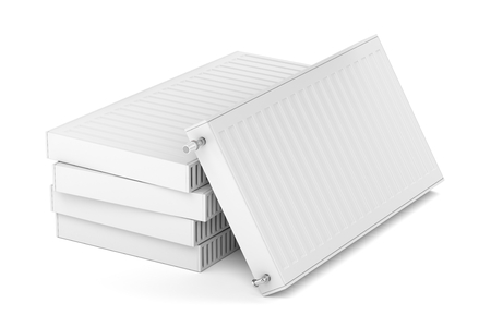 Stack with heating radiators on white background