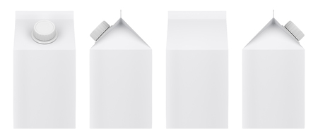 Blank milk carton isolated on white background. Front, back and side view.