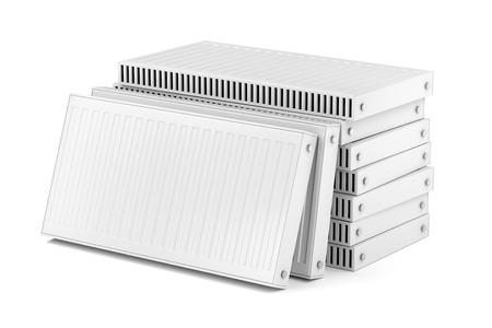 Group of heating radiators on white background