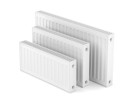 Group of heating radiators with different sizes on white background