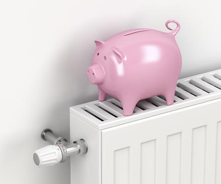 Tirelire sur radiateur de chauffage central. Image conceptuelle pour économiser de l'argent sur le chauffage.