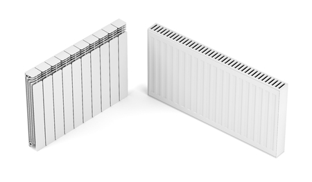 Different types of heating radiators on white background