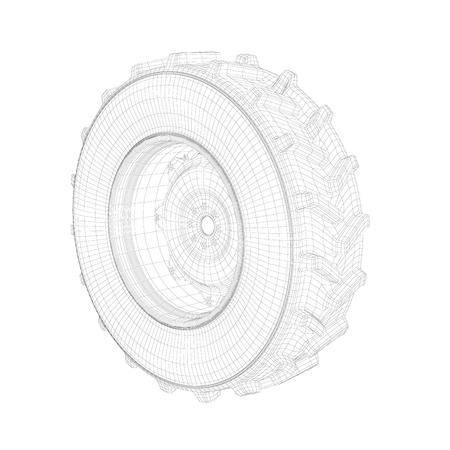 Modello 3D wireframe della ruota del trattore su sfondo bianco Archivio Fotografico
